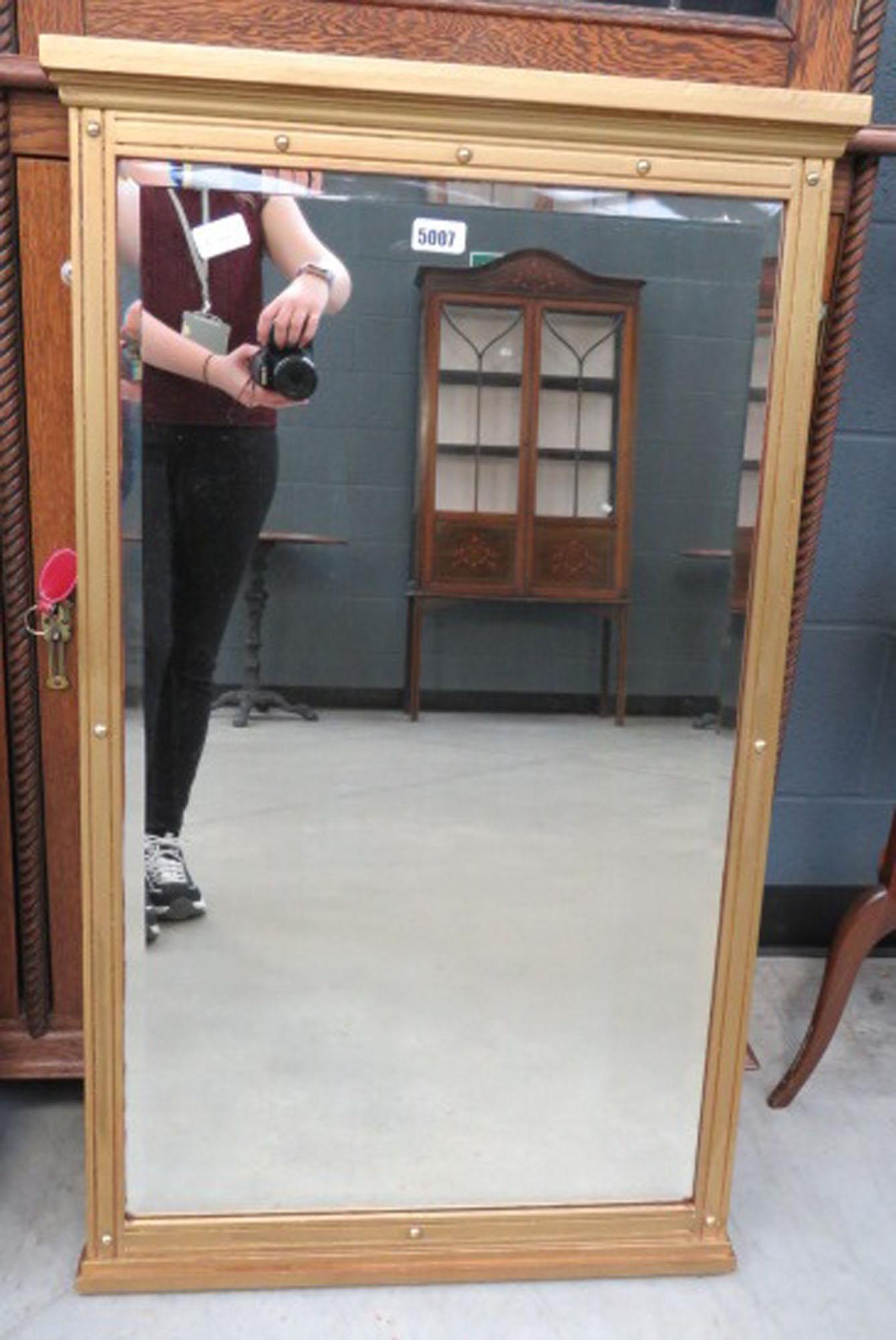 Rectangular bevelled mirror in gilt frame