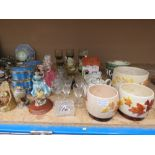 5387 Commemorative tins, ornamental birds, figures of ladies, tumblers and other glassware, milk