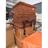Four wicker picnic baskets