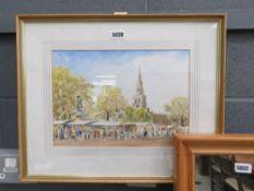 watercolour of Bedford market