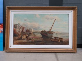 328 (4/6) English School, late 19th/early 20th century,A study of a busy fishing harbour, unsigned,