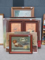 Quantity of paintings inc. still life with flowers, cactus fruit, house interior, still life with