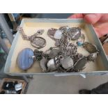 Box containing a small qty of silver plate and silver jewellery