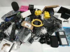 Bag containing remotes, cables, PSUs, Raspberry Pi, webcam, etc