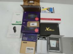 Media box, Decoy camera, Chromecast, HDD external case, BT 4G Assure dongles, etc