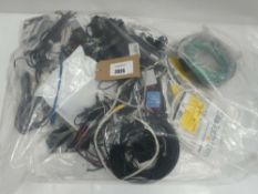 Bag containing quantity of cables, leads and PSUs