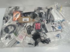 Bag containing quantity of mobile accessories; leads, adapters, chargers, stands, etc