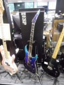 Esp E-2 horizon 6 string electric guitar in blue finish with EMG pick ups, comes with case