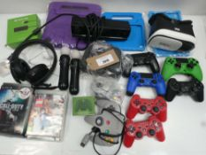 Bag containing quantity of gaming accessories; controllers, games, adapters, headphones, Xbox motion