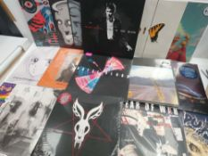 Box containing various LP and 45 records to include Mr Bungle, Ritchie Blackmore, Red City Radio,