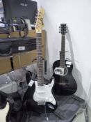 Rockjam 6 string electric black and white finish guitar