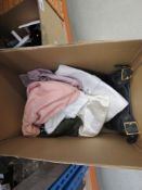 Box containing mixed style ladies handbags and purses, some with dust bags