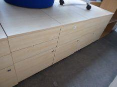 4 maple effect 3 drawer desk height pedestals, 43cm wide