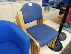 4 beech frame and blue cloth seated stacking chairs
