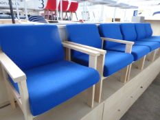 Set of 6 blue cloth reception chairs, 2 with arms