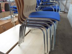 Stack of 4 Senator bentwood and blue cloth chairs