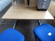 Oak effect cantilever table, 120cm wide