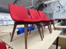 Set of 4 Elite wooden frame red cloth chairs