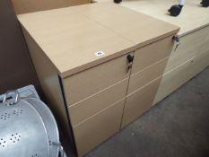 2 oak effect 3 drawer desk height pedestals, 32cm wide