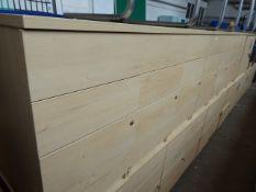 7 maple effect desk height 3 drawer pedestals, 43cm wide