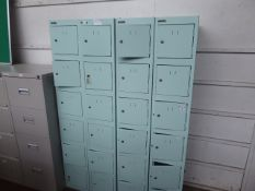4 Silverline 6 door personal storage lockers, each 30cm wide, mostly without keys