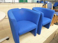 2 blue cloth tub chairs