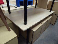 Maple boardroom table, 180cm x 100cm on black tubular legs