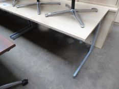 Maple effect straight front workstation, 160cm wide with a matching pedestal