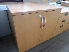 Beech effect 2 door stationery cabinet, 80cm wide