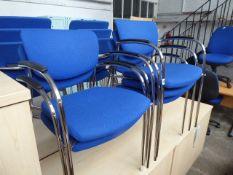 Set of 5 Senator blue cloth stacking chairs