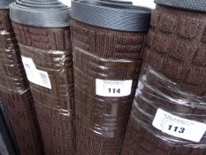 (629) 117cm by 83cm brown commercial rubber back mat with checker plate pattern