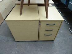 3 assorted oak 3 drawer mobile pedestals