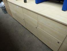 5 maple effect 3 drawer desk height pedestals, 43cm wide