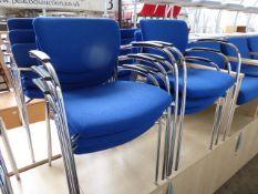 6 Senator blue cloth stacking chairs