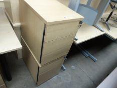 2 oak effect pedestals, 42cm wide