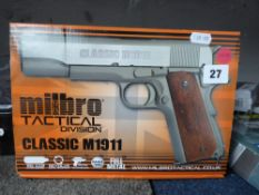 Boxed Milbro Tactical Classic M1911 6mm BB airsoft pistol *This Lot is offered for the purposes of