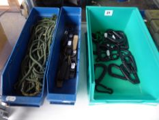 Three trays of carabenas, rope ties etc.