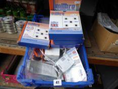 Box of airgun targets, airgun darts, battery packs etc.