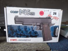 Boxed CQBP M45 6mm BB airsoft pistol *This Lot is offered for the purposes of historical re-