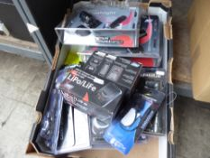 Tray of Kombat compasses, Kombat torches, Lipo Life chargers, LED flashlights etc.