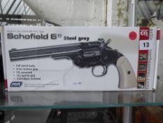 Boxed Schofield C02 .177 metal BB air pistol in steel grey