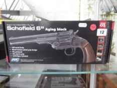 Boxed Schofield C02 .177 pellet air pistol in aging black