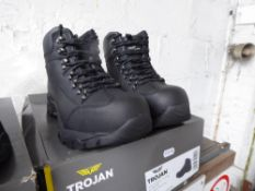 Boxed pair of Trojan safety boots, size 7