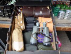 Tray of binoculars