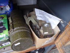 Group of First World War relics and a green shell case