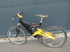 Urban full suspension mountain bike in black and yellow