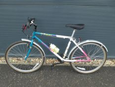 Raleigh mountain bike in blue and white