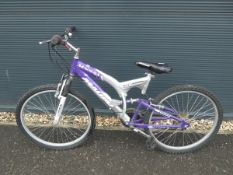 Full suspension Madera mountain bike in silver and purple