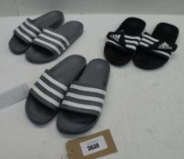 3 pairs of Adidas sandals, one size 10 and 2 size 9