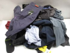 Bag of mixed ladies and gents clothing to include trousers, polo shirts, trainer socks, etc (various